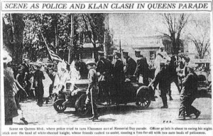 newspaper clipping on the 1927 KKK rally