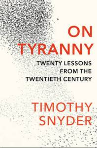 cover of On Tyranny, by Timothy Snyder. The background is white, with a flock of black birds in movement against it. The flock is close together at the top of the image, but gets sparser at the bottom.