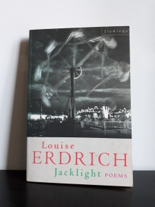 A copy of the book Jacklight, upright on a black surface and leaning against a white background. The cover photo is a night scene of an amusement park, in black and white. The most prominent detail is a ferris wheel in fast movement, seen from behind.