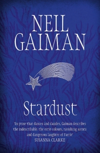 The cover of the book Stardust: a shooting star sketched across a navy background that shows the branches of a tree.