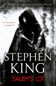 """The cover of 'Salem's Lot: a blurry black and white image of a white woman wearing a dark cloak. Her hood partly obscures her face. On the left of her face, a question is printed: """"do you believe in vampires?"""""""