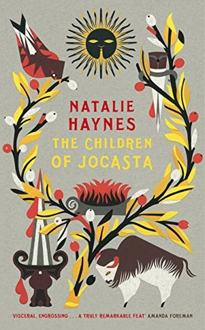 The book cover of The Children of Jocasta. The background is light grey, with the title in the middle in yellow letters. The name of the author is in red right above. A tree with yellow leaves and red fruit is planted at the bottom of the page and grows into laurels around the writing. At the top of each branch sits a bird: the one on the left looks down inquisitively, while the one on the right seems to be asleep. On the bottom left sits an oversized dagger, still dripping with blood, and on the bottom right a sacrificial ox stands in profile. A sun with a face oversees the scene at the top and center of the page, while a lit pyre sits under the writing.