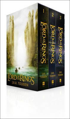A paperback boxset of The Lord of the Rings. It is photographed at an angle, so both the front of the box and the spines of the books are visible. The front presents three small rowboats following each other in a line on a greenish stream, the first one almost a dot in the distance. They are sailing between two white statues of men in robes, their left hands and palms up, as if requesting the visitors go no further. Behind them is a bright, wide unknown. Each of the books' spine repeats the name of the trilogy, and includes the book's number and the author's name. Their designs are not clear, but they are of dark colours: green, blue, black.