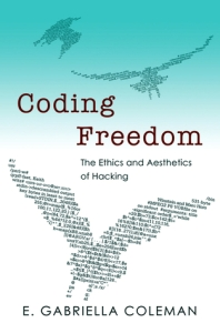 The cover of Coding Freedom. It presents a sky with three birds flying across it. The sky is a gradation of blue: light blue at the top, turning into stark white at the bottom. In the blue are the two smaller birds, to far away to be visible in their details. However, the one in the white, with its wings spread out, takes up half of the cover. It is made of lines of code. The title is written in reddish Comic Sans font in between the birds, right where the blue turns to white.