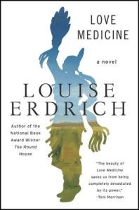 """A white background with the silhouette of a dancing Ojibwe woman in traditional dress in the middle. Her shape cuts the cover, opening it to a midwestern landscape, like a window. The name of the author, Louise Erdrich, is emblazoned in big black letters across her chest, and the title of the book is in the upper right-hand corner in a smaller font. In the lower right-hand corner is Toni Morrison's quote: """"The beauty of Love Medicine saves us from being completely devastated by its power""""."""
